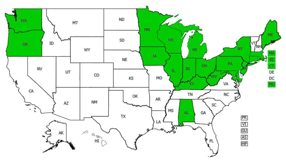 Horse chestnut distribution - United States
